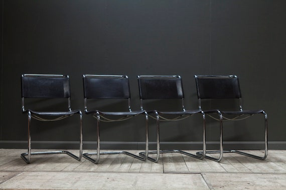 A set of four original S33 cantilever chairs by Marcel Breuer for Thonet