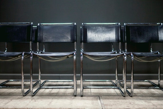 A set of eight 1970's B33 Marcel Breuer Cantilever Chairs by Thonet