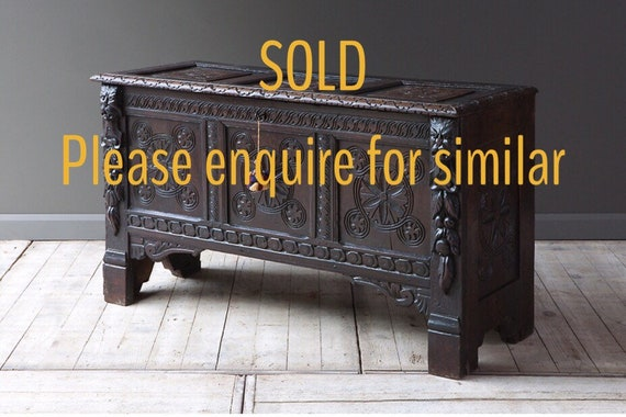 19th century carved oak blanket box or coffer chest. MAKE AN OFFER. Guide price only.