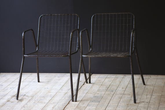 Pair of vintage metal mesh chairs
