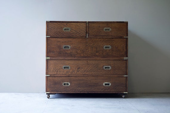 Large Victorian military campaign chest in oak