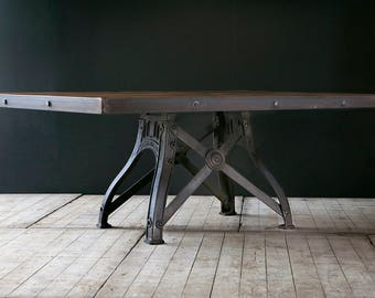 Industrial dining table with original cast iron cross base