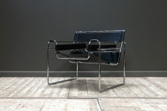An original Wassily chair designed by Marcel Breuer and made by Knoll