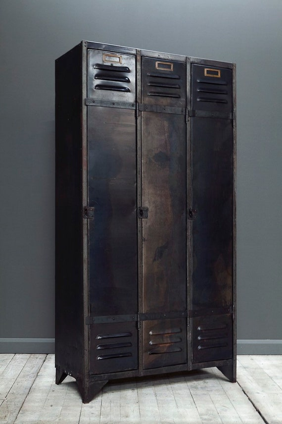 Vintage, industrial steel locker wardrobe  with three doors. MAKE AN OFFER. Guide price only.