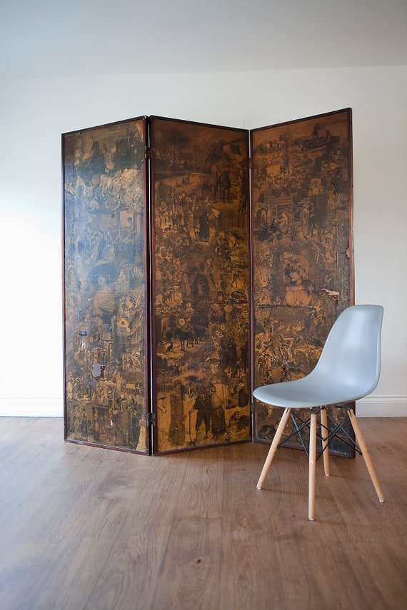 Victorian folding decoupage screen