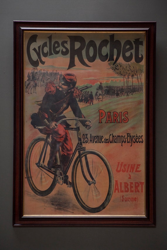 "Original, extra large, linen backed poster for ""Cycles Rochet"" circa 1895"