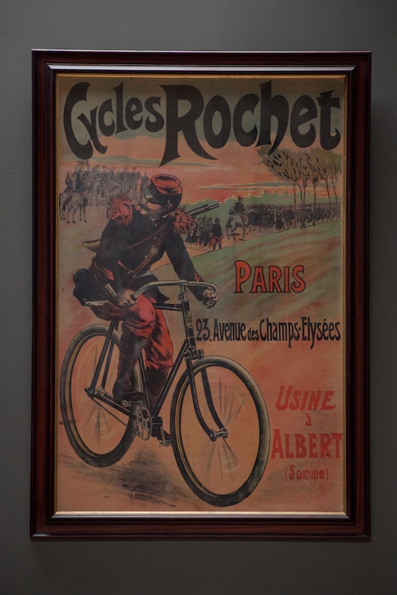 "Original, extra large, linen backed poster for ""Cycles Rochet"" circa 1895."