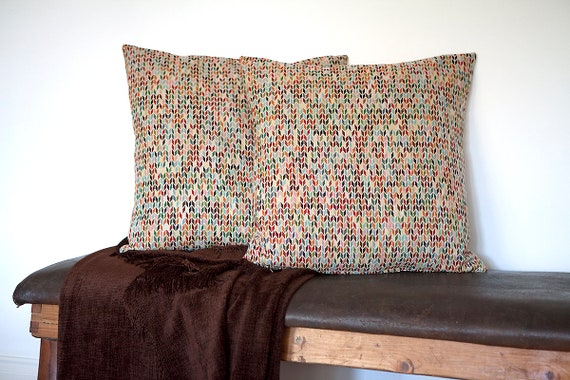 Large, handmade cushion cover in multicoloured jacquard fabric