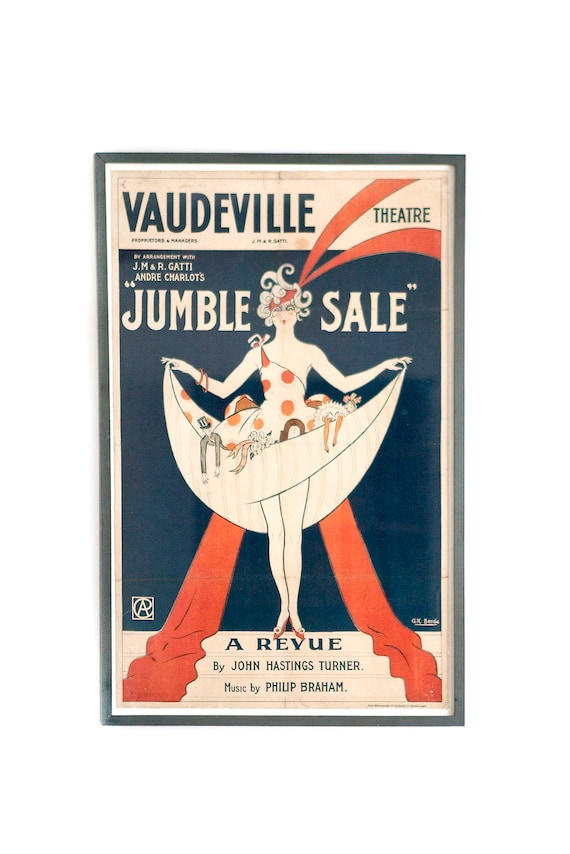 Original, framed, vintage wall art. Vaudeville theatre poster for Jumble Sale. Guide price only.