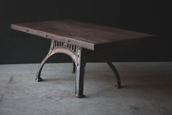 Henry Bamford industrial dining table - original cast iron base with gold/bronze detailing