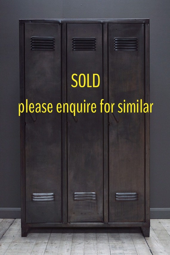 MAKE AN OFFER. Guide price only. Vintage, industrial steel locker wardrobe  with three doors.