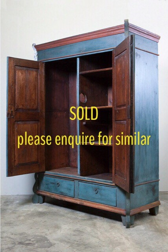 19th century, continental, blue (as found) painted two door armoire - 15% off at the check out