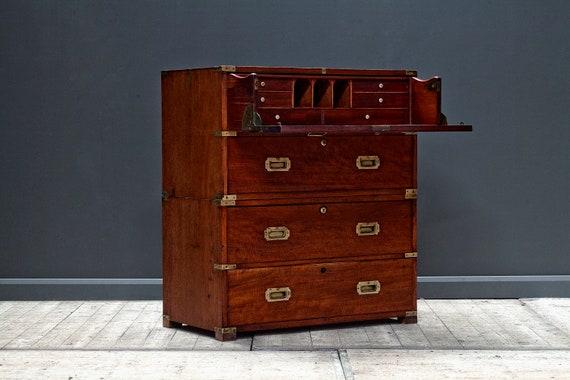A victorian mahogany military campaign secretaire chest.