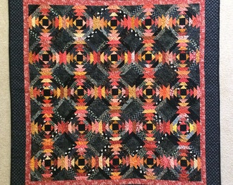 Pineapple Quilt Orange and Black
