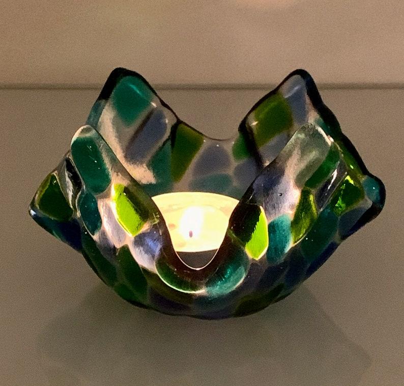 Fused glass tealight holder