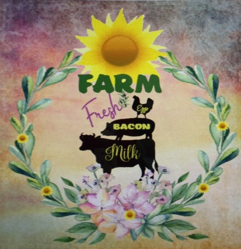Kitchen decor Farm Fresh Country Art Rustic decor,Housewarming,wall hanging,Home Decoration Farm Art,Cow pig chicken picture