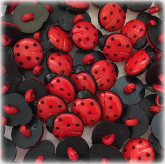 LADYBUG APPROX 15MM in size LADYBIRD BUTTONS Baby Makes