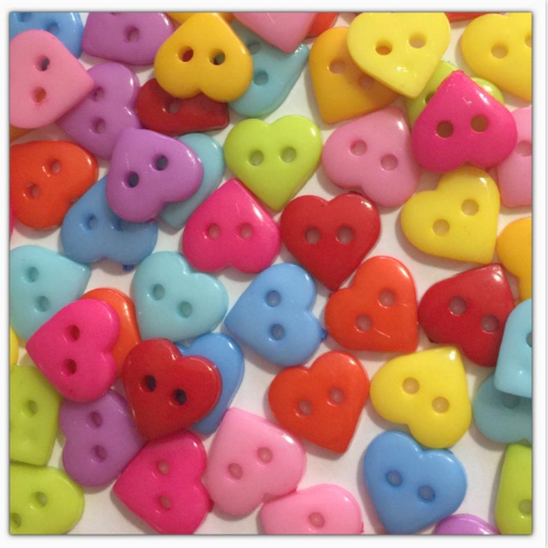 30 or 60 11mm Heart buttons, random mix heart buttons, scrapbooking, sewing  crafts 11 mm 7/16