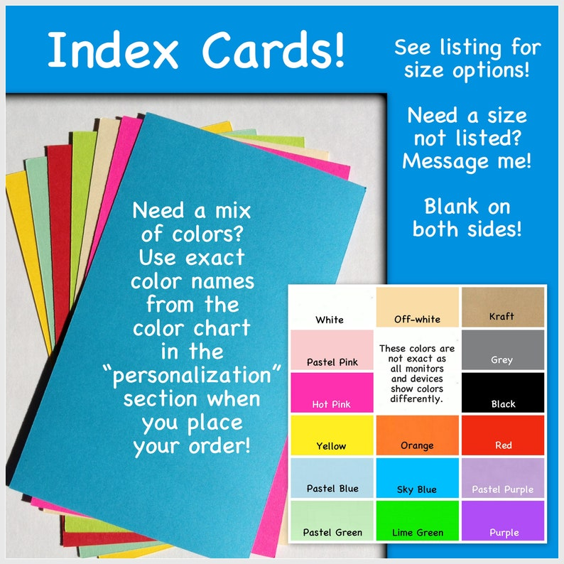 Index Cards Note Cards Greeting Cards Variety Of Colors 4 X 6 Etsy