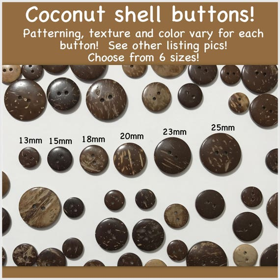 25mm Coconut Shell Buttons 2 Hole Fastening Beads Sewing Knitting closures toys