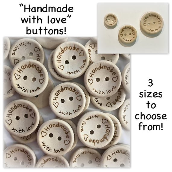 Wood HANDMADE WITH LOVE Natural Wooden Round Buttons 2 Holes 25mm 2.5cm