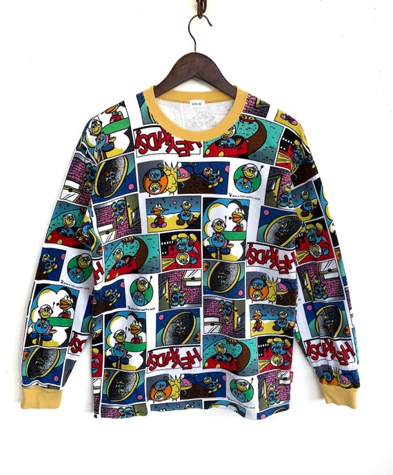 Vintage Anime Sweatshirt Mini K Overprinted Multic