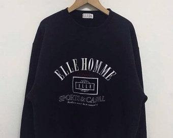 20% Off Vintage ELLE Sweatshirt 90's Hip Hop Rap Ellesse Homme Sweater Streetwear Sweater Big Logo Elle Pull Over Sweatshirt Jacket