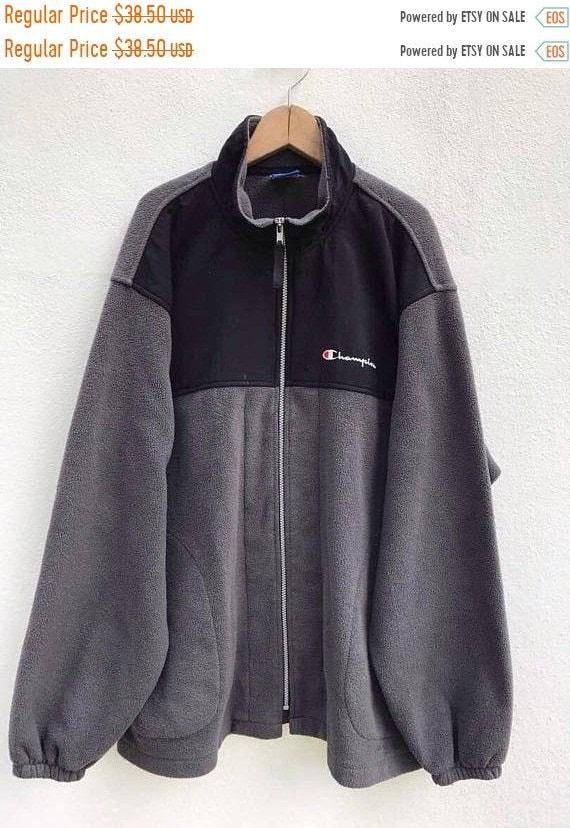 Champion Sweater Vintage Champion Fleece Jacket 9… - image 1