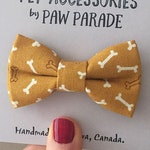 Pet Bow Tie, Cat Bow Tie, Dog Bow Tie, Yellow Bones Bowtie, Kawaii, Cute, Paw Parade, Pet Accessories, Cat Collar, Cats, Cat Gift, Dog Gift