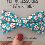 Pet Bow Tie, Cat Bow Tie, Dog Bow Tie,  Blue Baseball Sport Bowtie, Cute, Paw Parade, Pet Accessories, Cat Collar, Cats, Cat Gift, Dog Gift