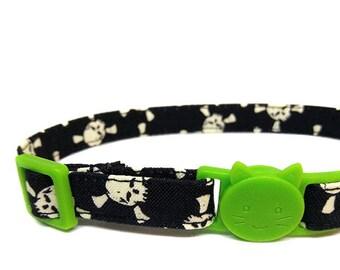 Cat Collar - Black with Glow-in-the-Dark Skulls