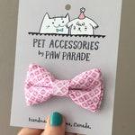 Pet Bow Tie, Cat Bow Tie, Dog Bow Tie, Pink Bowtie, Paw Parade