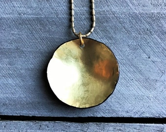 Hammered Brass Disc Necklace - minimalist domed circle simple modern metal bowl pendant