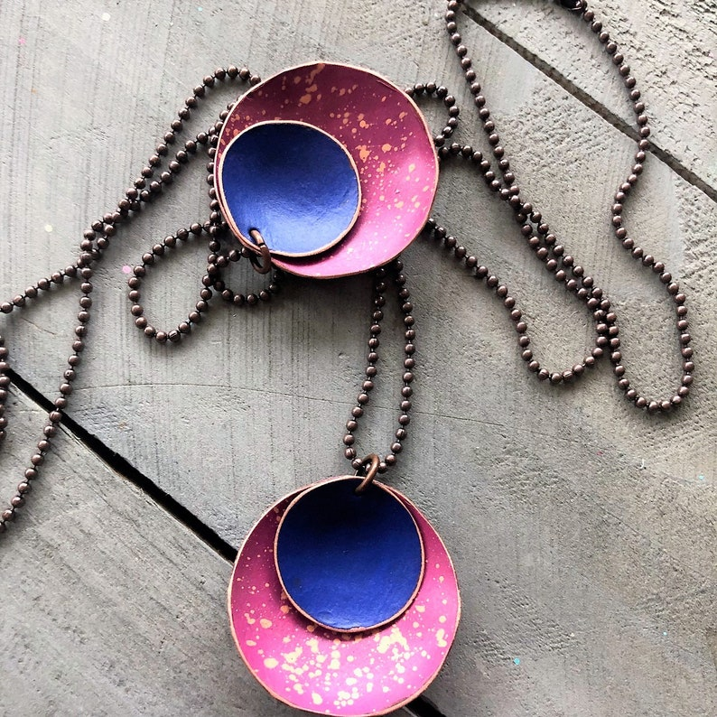 Hand Painted Copper Disc Necklace layered domed circle modern metal bowl pendant