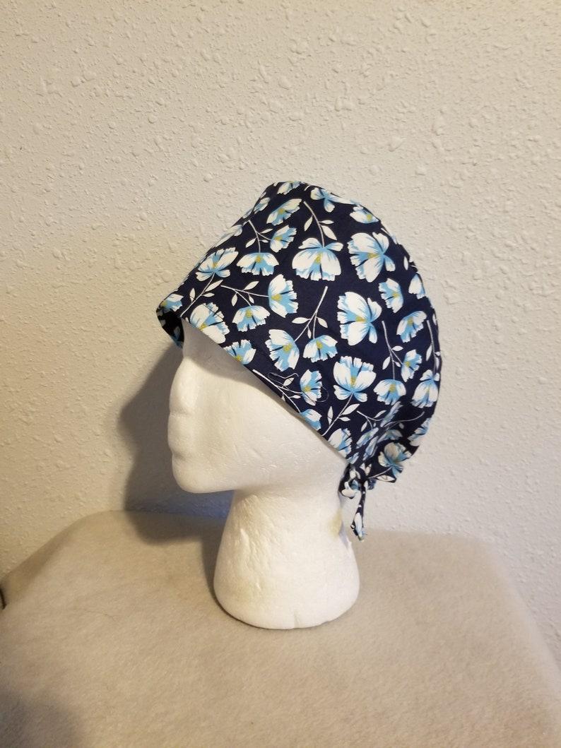 NEW!! Navy Blue Floral Scrub Hat Flower Scrub Hat Scrub Hat Surgical Cap Chemo hat Chef Hat Skull Cap