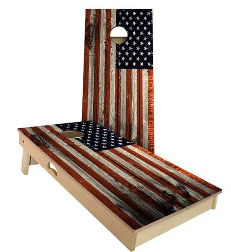 American flag handmade cornhole game - perfect for a patriotic party or 4th of July celebration. #americanflag