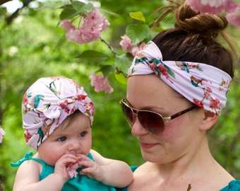 Mommy and Me Cherry Blossom Baby Turban and Adult Turban Headband