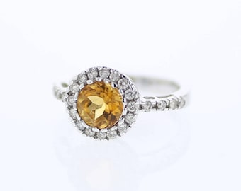 Golden Yellow Citrine Ring with Diamond