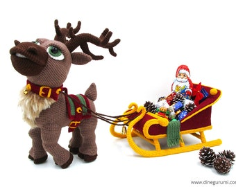 Reindeer Sleigh - amigurumi crochet pattern, christmas, deco, present, advent, Dinegurumi, pdf, german, english