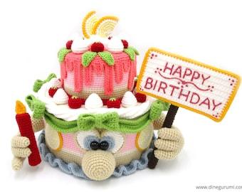 Cake XL - amigurumi crochet pattern, birthday, present, fillable, Dinegurumi, pdf, german, english
