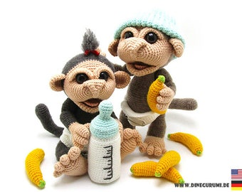 Little monkeys crochet pattern amigurumi