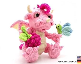 Raspberry dragon crochet pattern amigurumi