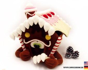 Gingerbreadhouse XL crochet pattern amigurumi