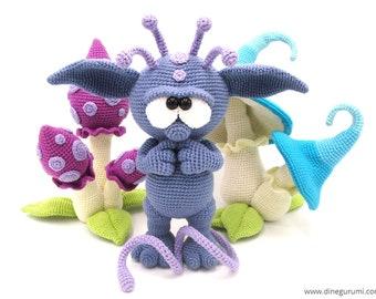 Nucknuck - amigurumi crochet pattern, alien, troll, fantasy, mushroom, magic, Dinegurumi, pdf, german, english