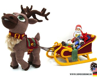 Reindeer sleigh crochet pattern amigurumi