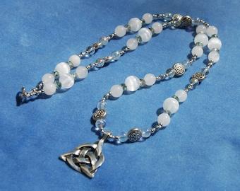 Triquetra Of Light Gemstone Necklace - Celtic knots - selenite and quartzite