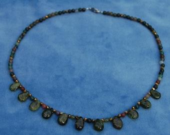 Forest Queen Necklace - Idocrase and Fancy Jasper - Vesuvianite - Elven - Elf - Fae - Nymph