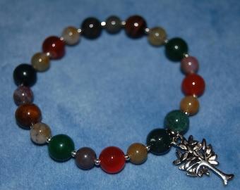 Summer Yggdrasil Bracelet – world tree – tree of life – bloodstone, carnelian, cat's eye, aventurine, and fancy jasper