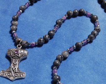 Amethyst Hammer Mjolnir Necklace – labradorite – mjollnir – thor – heathen