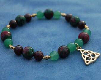 Celtic Triangle Gemstone Bracelet – triquetra – land, sky, and sea – trinity – ireland – garnet, aventurine, and ruby-in-zoisite